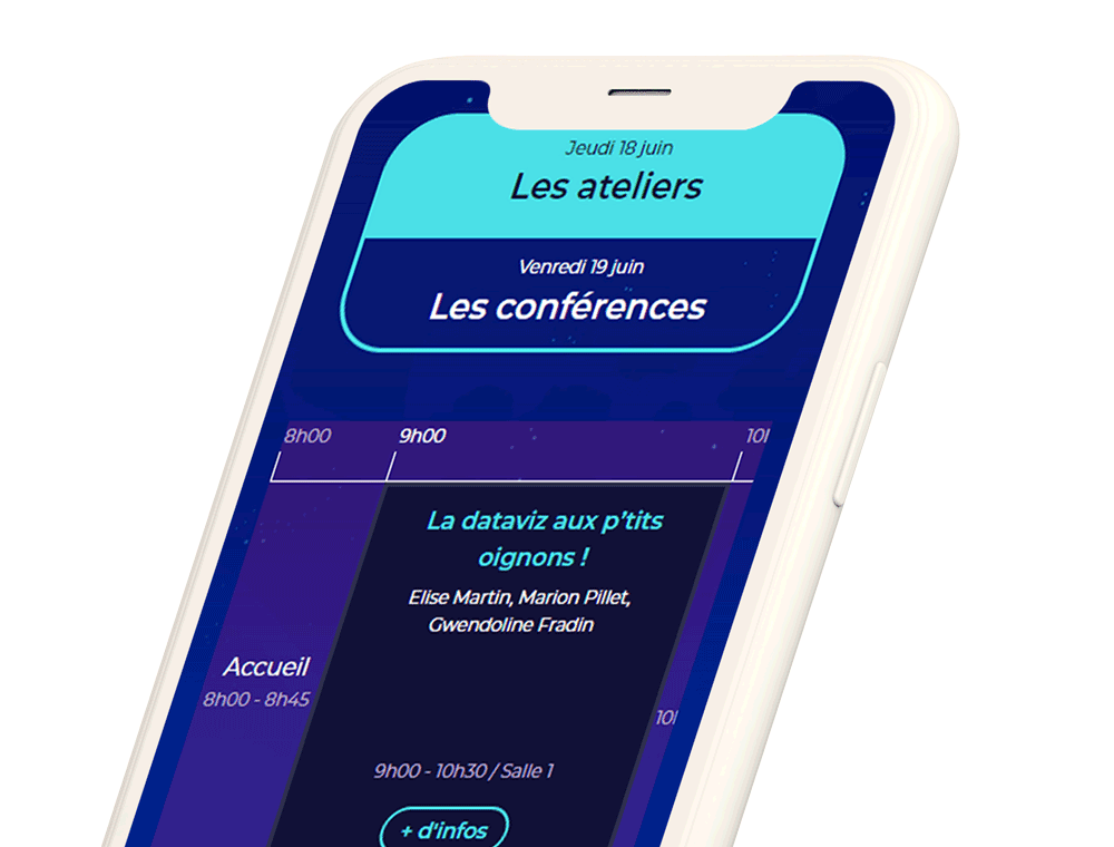 Telephone portable montrant la page web des uxdays