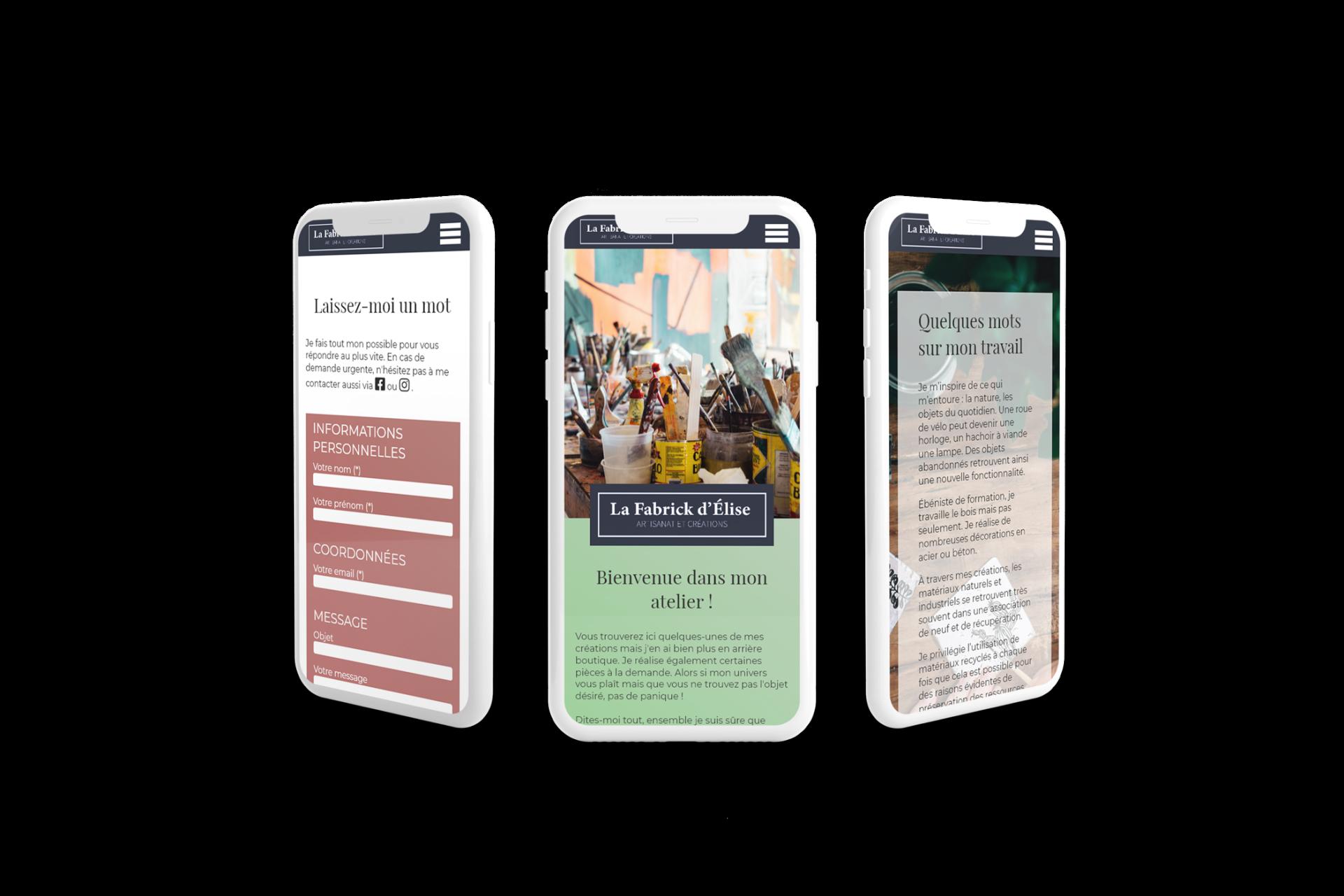 Mobiles presentant le site La Fabrick d élise